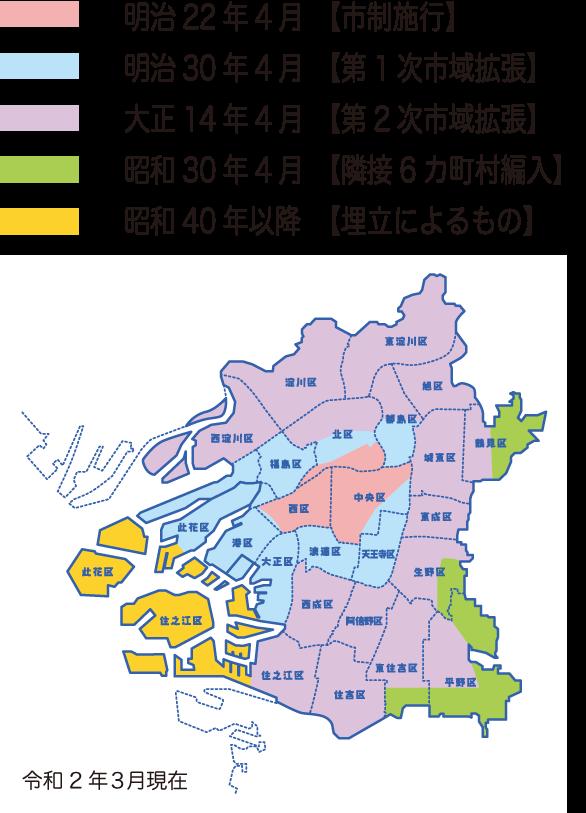 大阪市は中央区から大きくなりました