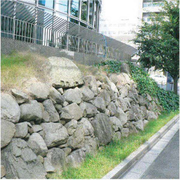 府立男女共同参画・青少年センター(ドーンセンター)北側の石垣
