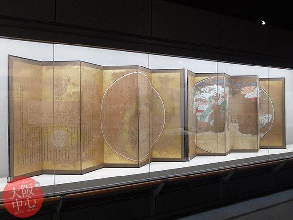 大阪歴史博物館 常設展示「天文図・世界図屏風」