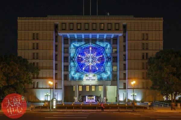 大阪市庁舎正面イルミネーションファサード