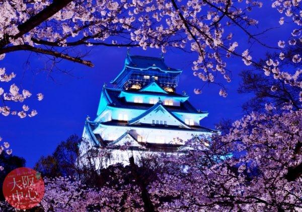 大阪城天守閣 ブルーライトアップ